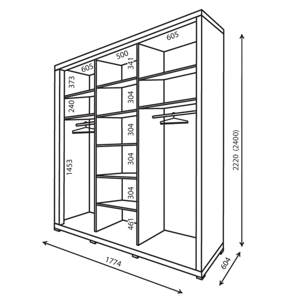 Наполнение шкафа-купе с размерами (ширина 1774 мм)