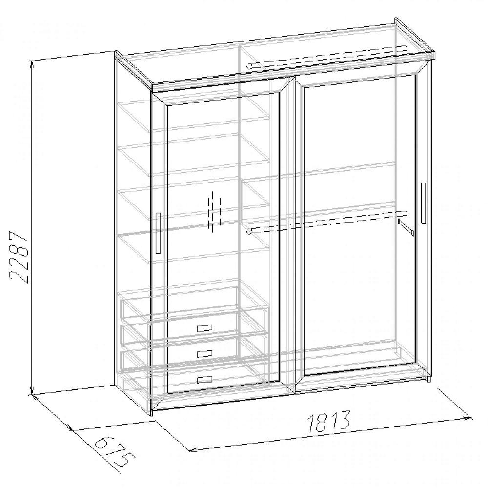 Наполнение шкафа-купе с размерами (ширина 1813 мм)